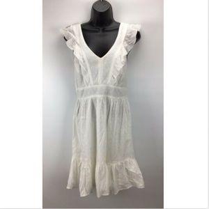 Fishbowl M Medium Dress White Cotton V-Neck Ruffle